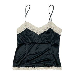Vintage Worthington Black Satin Lace Trim Top Size
